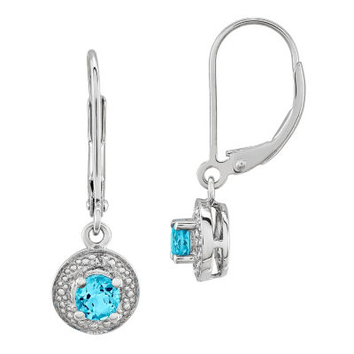 Diamond Accent Blue Topaz Sterling Silver Drop Earrings