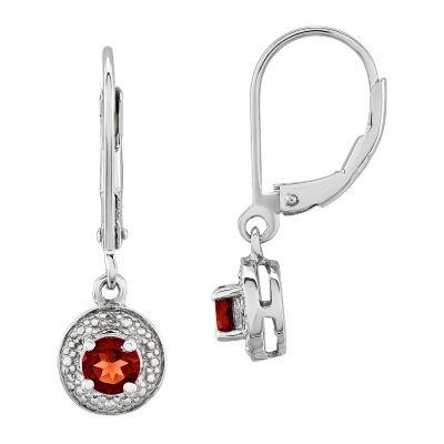 Diamond Accent Genuine Red Garnet Sterling Silver Drop Earrings
