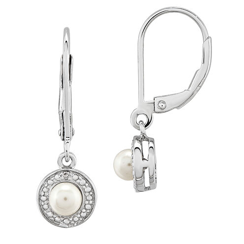 Diamond Accent White Pearl Sterling Silver Drop Earrings