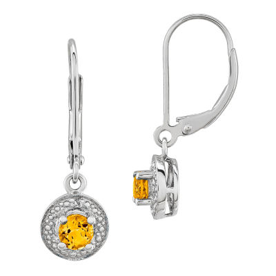 Diamond Accent Genuine Yellow Citrine Sterling Silver Drop Earrings