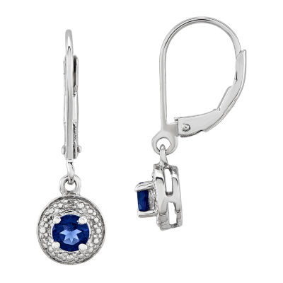 Diamond Accent Lab Created Blue Sapphire Sterling Silver Drop Earrings
