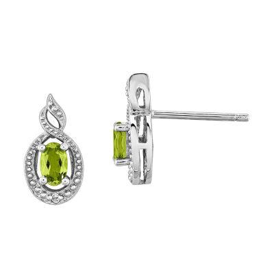 Diamond Accent Oval Green Peridot Sterling Silver Stud Earrings