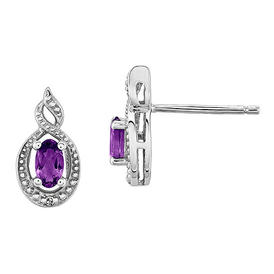 Diamond Accent Genuine Purple Amethyst Sterling Silver 13mm Stud Earrings
