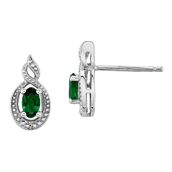 Diamond Accent Lab Created Green Emerald Sterling Silver 13mm Stud Earrings