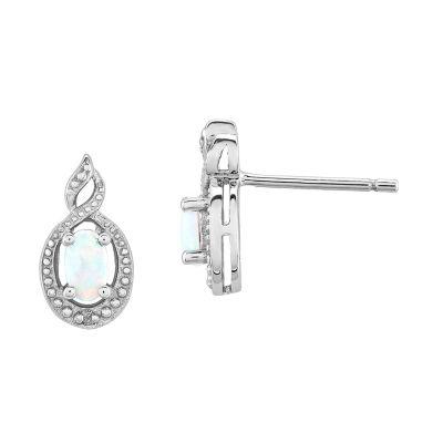 Diamond Accent Oval White Opal Sterling Silver Stud Earrings