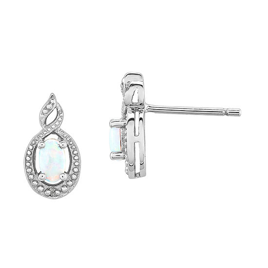 Diamond Accent Lab Created White Opal Sterling Silver 13mm Stud Earrings