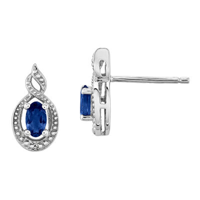 Diamond Accent Lab Created Blue Sapphire Sterling Silver 13mm Stud Earrings
