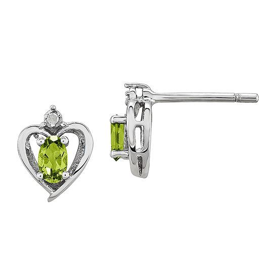 Diamond Accent Genuine Green Peridot Sterling Silver 10mm Heart Stud Earrings