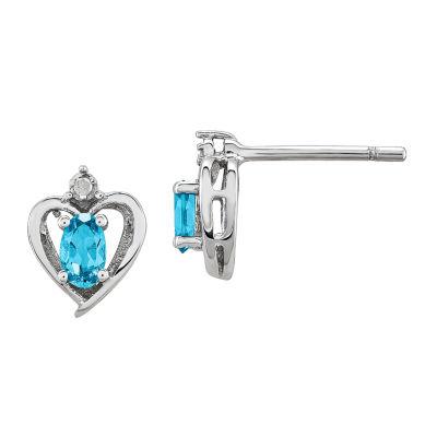 Diamond Accent Blue Topaz Sterling Silver 10mm Heart Stud Earrings