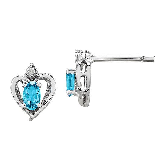 Diamond Accent Genuine Blue Topaz Sterling Silver 10mm Heart Stud Earrings