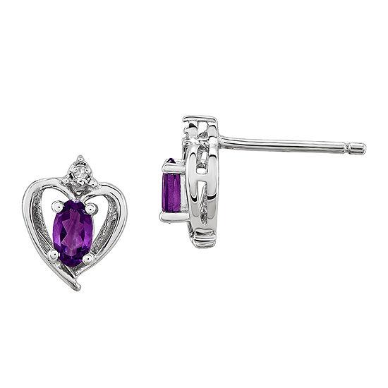Diamond Accent Genuine Purple Amethyst Sterling Silver 10mm Heart Stud Earrings
