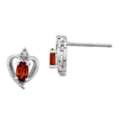 Diamond Accent Genuine Red Garnet Sterling Silver 10mm Heart Stud Earrings