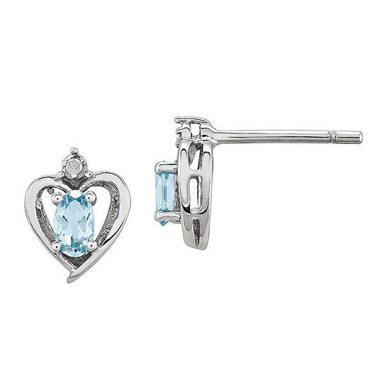Diamond Accent Genuine Blue Aquamarine Sterling Silver 10mm Heart Stud Earrings