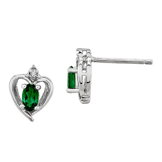 Diamond Accent Lab Created Green Emerald Sterling Silver 10mm Heart Stud Earrings
