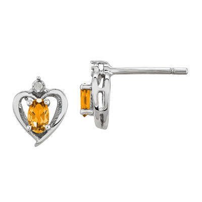 Diamond Accent Genuine Yellow Citrine Sterling Silver 10mm Heart Stud Earrings