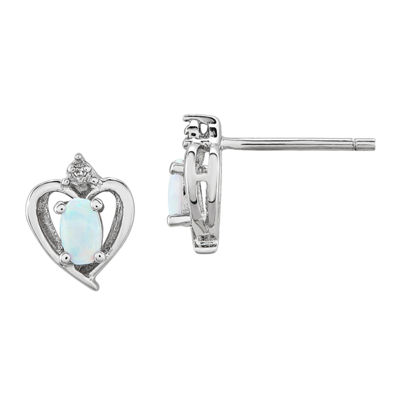 Diamond Accent Lab Created White Opal Sterling Silver 10mm Heart Stud Earrings