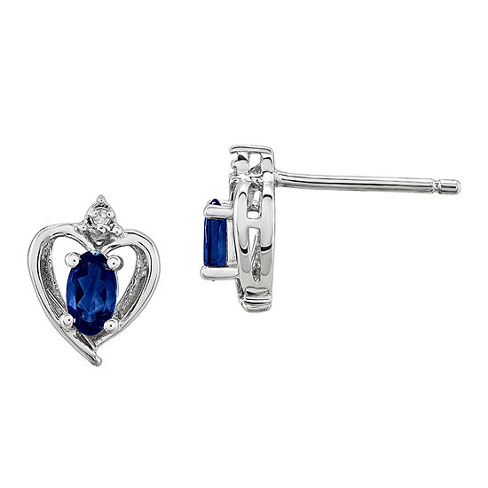 Diamond Accent Lab Created Blue Sapphire Sterling Silver 10mm Heart Stud Earrings