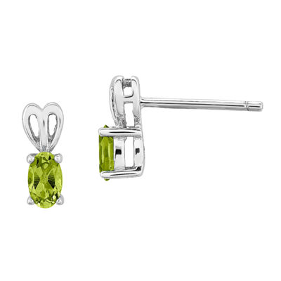 Genuine Green Peridot Sterling Silver 10mm Stud Earrings