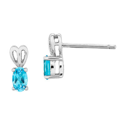 Blue Blue Topaz Sterling Silver 10mm Stud Earrings