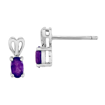 Purple Amethyst Sterling Silver 10mm Stud Earrings