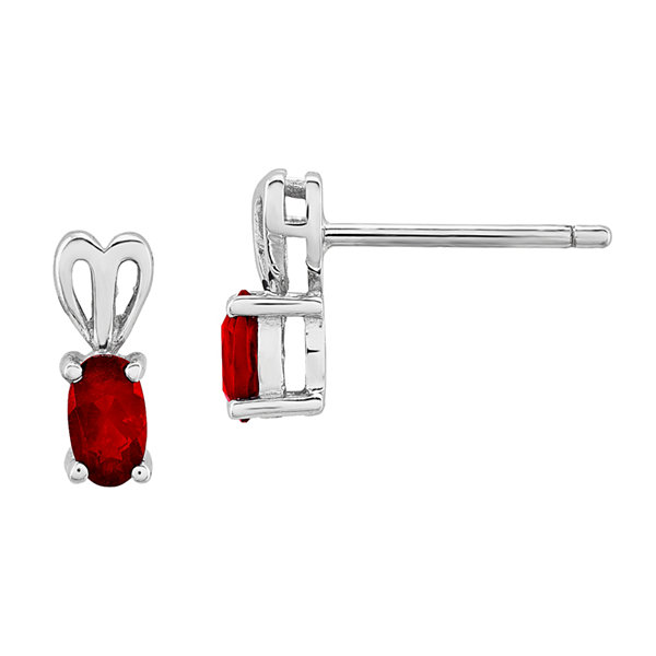 Oval Lab Created Ruby Sterling Silver Stud Earrings