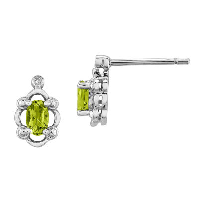 Diamond Accent Genuine Green Peridot Sterling Silver 10mm Stud Earrings
