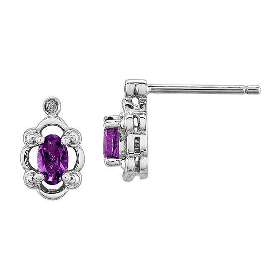 Diamond Accent Genuine Purple Amethyst Sterling Silver 10mm Stud Earrings