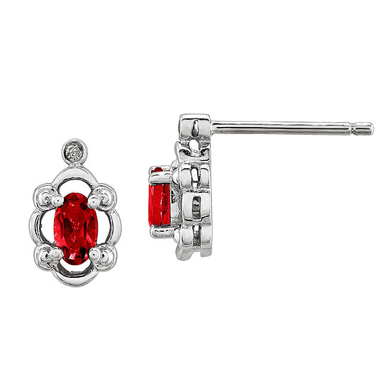 Diamond Accent & Oval Lab Created Ruby Sterling Silver Stud Earrings