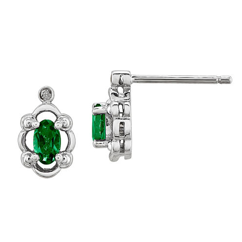 Diamond Accent Oval Lab Created Emerald Sterling Silver Stud Earrings