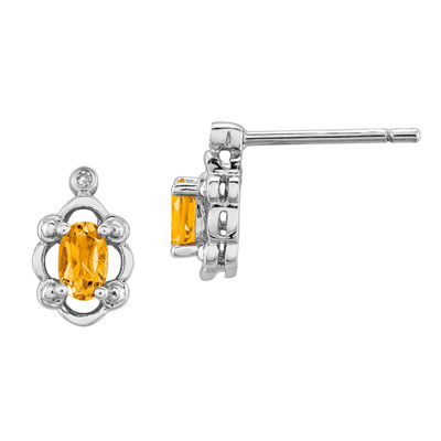 Diamond Accent Genuine Yellow Citrine Sterling Silver 10mm Stud Earrings