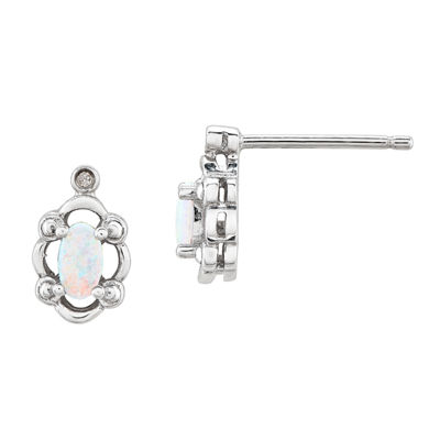 Diamond Accent Lab Created White Opal Sterling Silver 10mm Stud Earrings