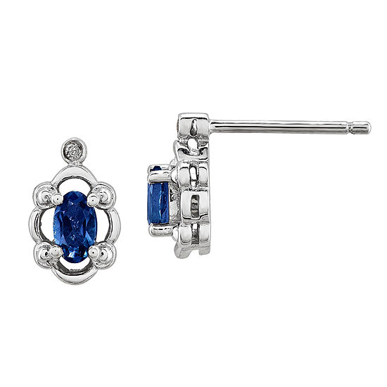 Diamond Accent Lab Created Blue Sapphire Sterling Silver 10mm Stud Earrings