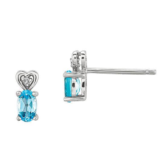 Diamond Accent Genuine Blue Topaz Sterling Silver 8mm Stud Earrings