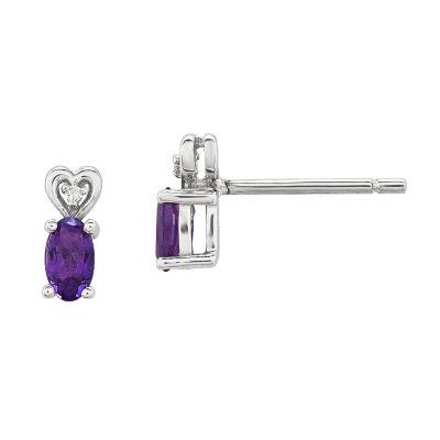 Diamond Accent Purple Amethyst Sterling Silver 8mm Stud Earrings
