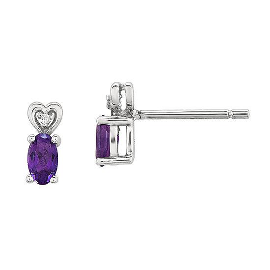 Diamond Accent Genuine Purple Amethyst Sterling Silver 8mm Stud Earrings