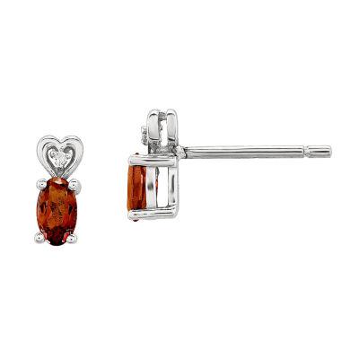Diamond Accent Genuine Red Garnet Sterling Silver 8mm Stud Earrings