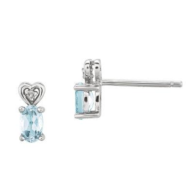 Diamond Accent Blue Aquamarine Sterling Silver 8mm Stud Earrings