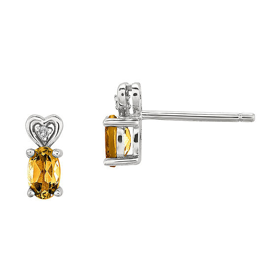 Diamond Accent Genuine Yellow Citrine Sterling Silver 8mm Stud Earrings