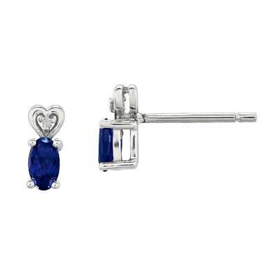 Diamond Accent Lab Created Blue Sapphire Sterling Silver 8mm Stud Earrings