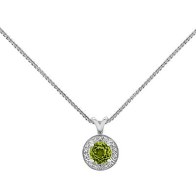 Womens Diamond Accent Green Peridot Sterling Silver Pendant Necklace