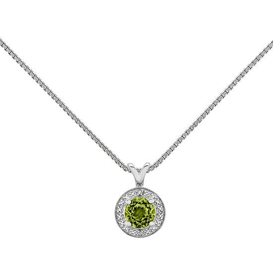 Womens Diamond Accent Genuine Green Peridot Sterling Silver Pendant Necklace