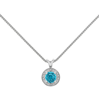 Womens Diamond Accent Blue Blue Topaz Sterling Silver Pendant Necklace
