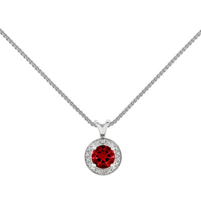 Womens Diamond Accent Red Ruby Sterling Silver Pendant Necklace