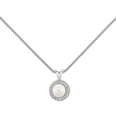 Womens Diamond Accent White Pearl Sterling Silver Pendant Necklace