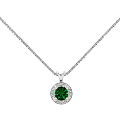 Womens Diamond Accent Green Emerald Sterling Silver Pendant Necklace