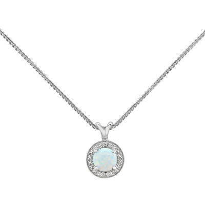 Womens Diamond Accent Lab Created White Opal Sterling Silver Pendant Necklace