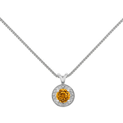 Womens Diamond Accent Genuine Yellow Citrine Sterling Silver Pendant Necklace