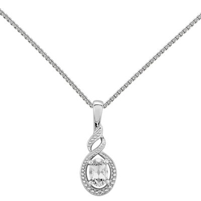 Womens Diamond Accent White Topaz Sterling Silver Pendant Necklace