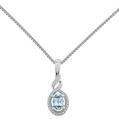 Womens Diamond Accent Blue Aquamarine Sterling Silver Pendant Necklace