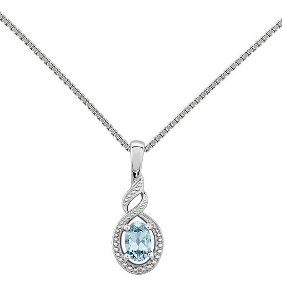 Womens Diamond Accent Genuine Blue Aquamarine Sterling Silver Pendant Necklace